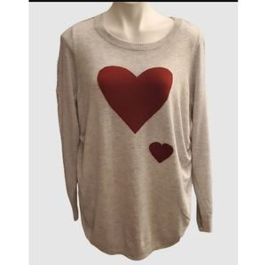 Isabel maternity red heart pullover gray sweater